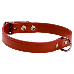 halsband softleder rood