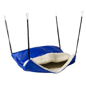 Hangzak knaagdier nylon en teddy 30x35 cm blauw/beige