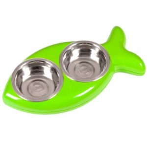 hing vis eetbak voor de kat groen