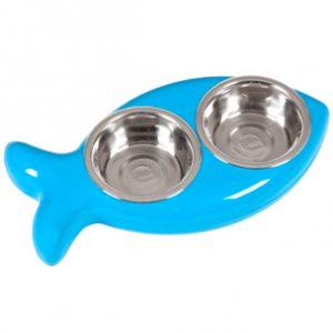 hing vis eetbak voor de kat blauw