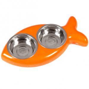 hing vis eetbak voor de kat oranje