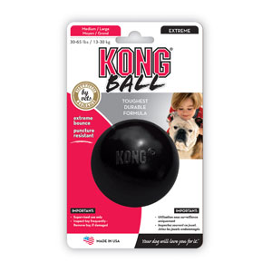 Kong Speeltje rubber bal extreme Medium/Large zwart Ø8 cm Extra sterke rubberen speelbal voor honden tot 16 kg